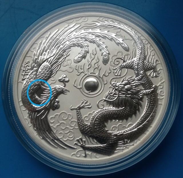 "1 oz Silber Perth Mint "" Dragon & Phoenix "" in Kapsel - Error Coin  ( diff.besteuert nach §25a UStG )"