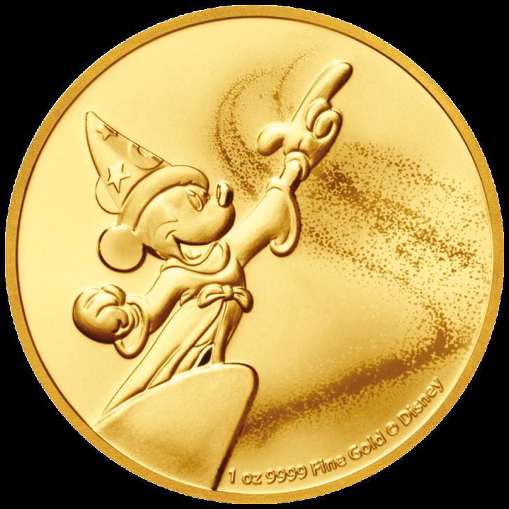 1 oz Gold New Zealand Mint Disney Mickey Fantasia - max 100 Auflage