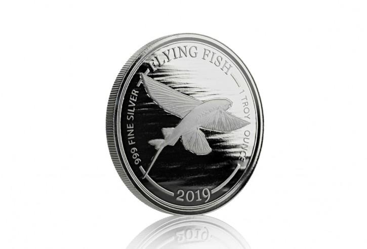 "1 oz Silber Barbardos "" Flying Fish "" 2te Ausgabe geprägt bei Scottsdale Mint in Kapsel - max. 10.000 ( diff.besteuert nach §25a UStG )"