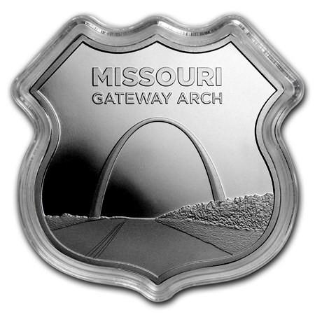 """1 oz Silber Icon of Route 66 in Kapsel """" Gateway Arch / Missouri """" - zweite Ausgabe ( 19% Mwst )"""