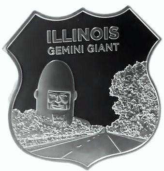 """1 oz Silber Icon of Route 66 in Kapsel """" Gemini Giant - Illinois """" - erste Ausgabe ( 19% Mwst )"""