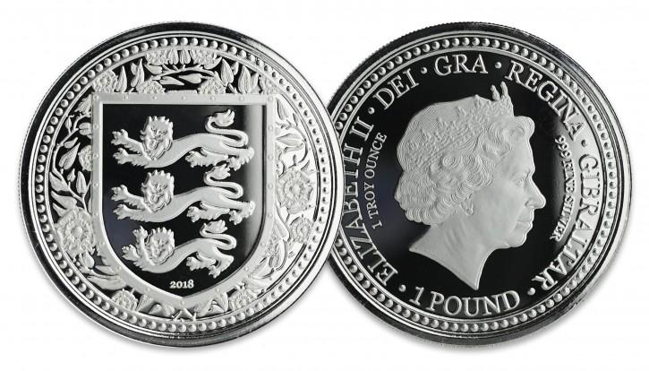 "1 oz Silber Gibraltar "" Three Lions "" in Kapsel Scottsdale Mint in Kapsel - max 50.000 Stk ( diff.besteuert nach §25a UStG )"