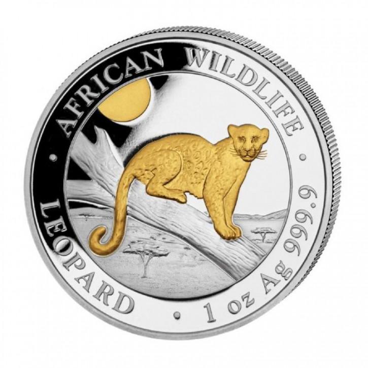 "1 oz Silber Somalia "" Leopard 2021 Gilded "" in Kapsel - max.5000 ( diff.besteuert nach §25a UStG )"