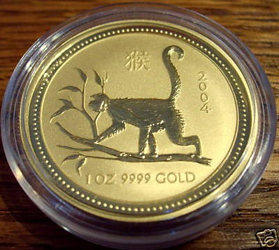 1/4 oz Gold Lunar I Affe 2004