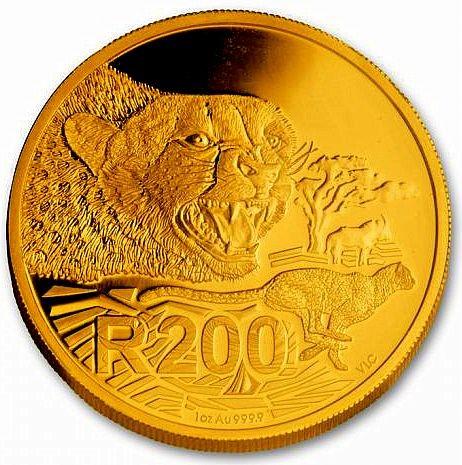 "1 oz Gold Südafrika Gold 200 Rand "" Cheetah "" - Big Cats Serie"