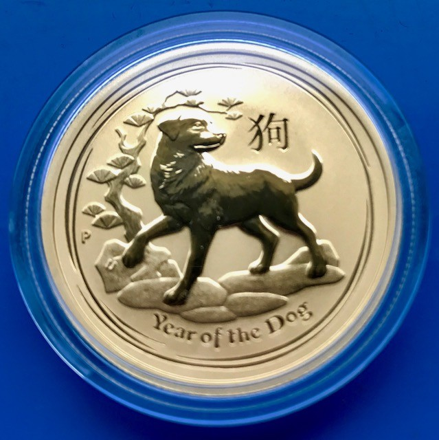 2 oz Gold Lunar II Hund 2018 in Kapsel ( Perth Mint )