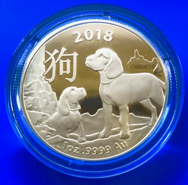 1/10 oz Gold Royal Australien Mint Lunar Hund 2018