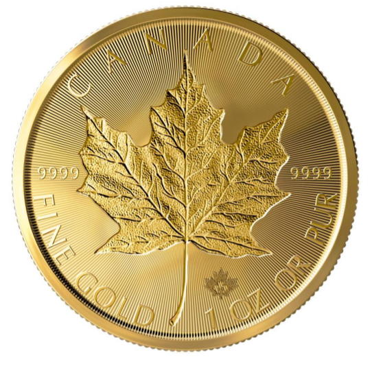 "1 oz Gold Maple Leaf 2019 "" Double Incuse Maple """