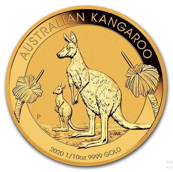 1/10 oz Gold Känguru 2020 in Kapsel