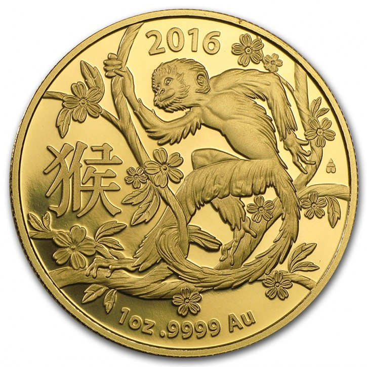 1 oz Gold Lunar Affe in Kapsel Royal Australian Mint