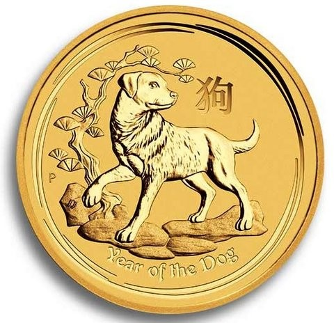 1/20 oz Gold Lunar II Hund 2018 in Kapsel
