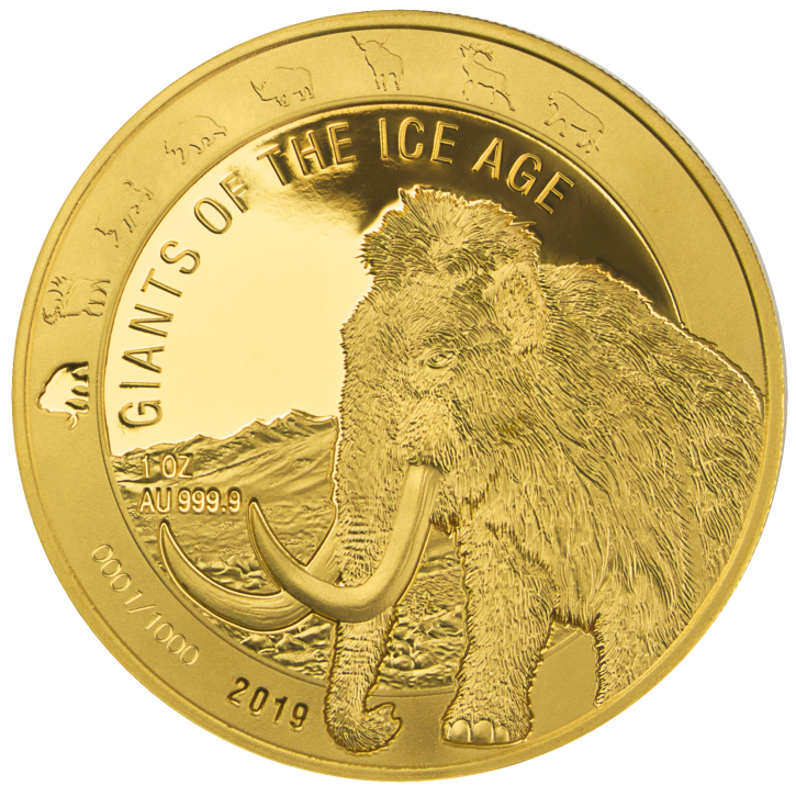 """1 Gold Ghana 2019 """" Wollmammut - Giganten der Eiszeit """" in Kapsel - max 1.000 ( diff.besteuert nach §25a UStG )"""