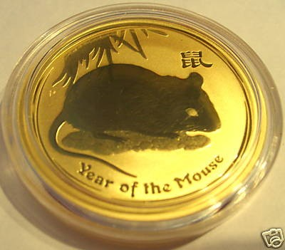 1 oz Gold Maus 2008 Lunar II in Kapsel