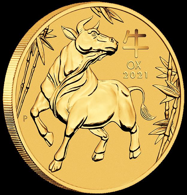 2 oz Gold Perth Mint Lunar III Ochse 2021 in Kapsel