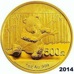 1/2 oz Gold China Panda 2014 in Folie
