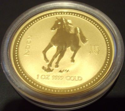 1/4 oz Gold Lunar I Pferd 2002 in Kapsel