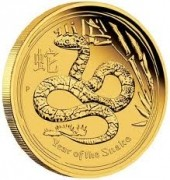 1 oz Gold Lunar II Schlange 2013 in Kapsel Perth Mint