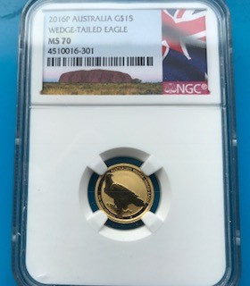 """1/10 oz Gold Perth Mint """" Wedge Tailed Eagle 2016 """" MS70 in Slab"""
