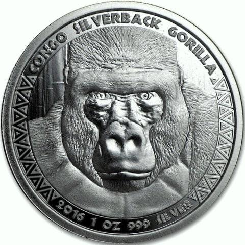 """1 oz Silber Prooflike Kongo """" Gorilla / Silberrücken 2016 zweite Ausgabe """" in Kapsel ( diff.besteuert nach §25a UStG )"""