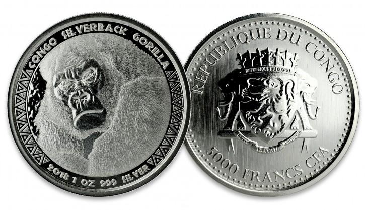 """1 oz Silber Prooflike Kongo """" Gorilla / Silberrücken 2018 vierte Ausgabe """" in Kapsel - max. Mintage 75.000 ( diff.besteuert nach §25a UStG ) - VVK"""