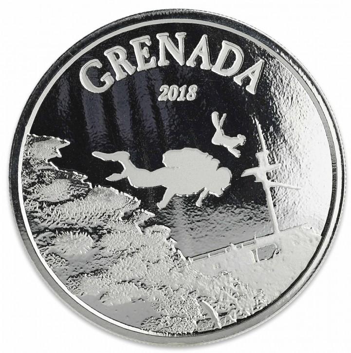 "1 oz Silber Grenada "" Diving Paradies "" Scottsdale Mint / Prooflike in Kapsel ( diff.besteuert nach §25a UStG )"