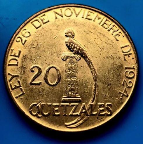 20 Quetzales 1926 Guatemala Gold ( 33,44 Gramm 0.9 Gold = 0,9675 oz Feingold )