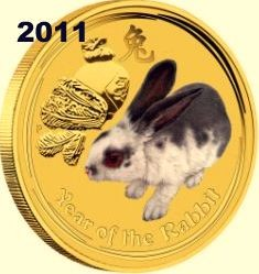 1/20 oz Gold Lunar II Hase 2011 farbig / Color in Kapsel