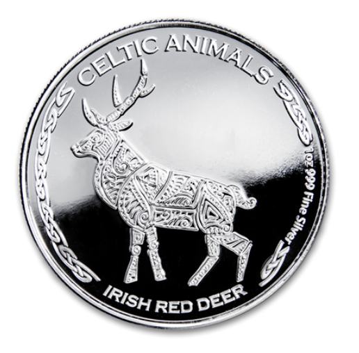 "1 oz Silber Chad 2019 Celtic Animals Series "" Irish Red Deer - max. Mintage 5.000 ( diff.besteuert nach §25a UStG )"