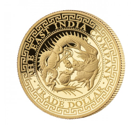 1 oz Gold Proof High Relief Japanese Dragon Trade Dollar inkl. Box / COA - max 200 stk - geprägt East India Company London