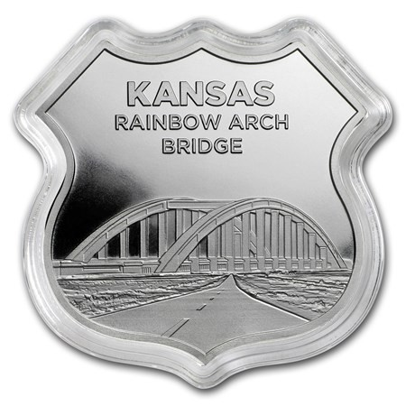"1 oz Silber Icon of Route 66 in Kapsel "" Rainbow Bridge / Kansas "" - dritte Ausgabe ( 19% Mwst )"