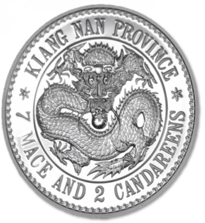 "1 oz Silber China Dragon Dollar ( Jiangnan ) Premium Uncirculated "" 7 Mace 2 Candareens ""  in Kapsel "" ( 19% Mwst ) - max 5000 Stk"