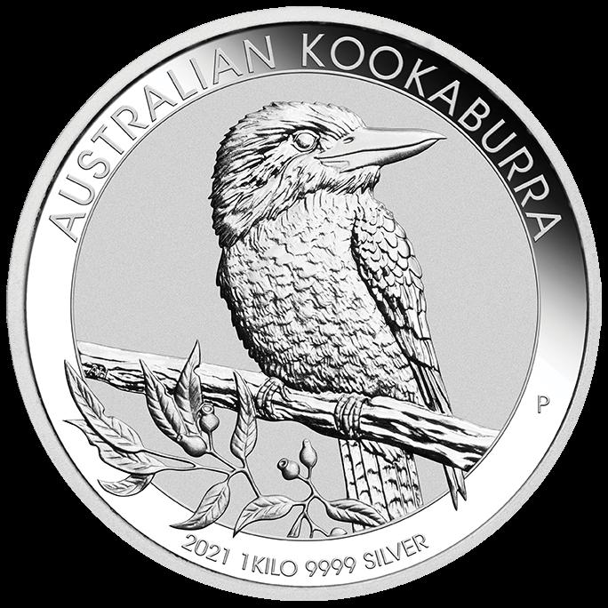 1 Kilogramm / 1000 Gramm Silber Australien Kookaburra 2021 in Kapsel ( diff.besteuert nach §25a UStG )