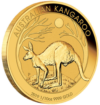 1/10 oz Gold Känguru 2019 in Kapsel
