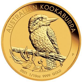 """1/10 oz Gold Perth Mint """" Kookaburra 2021 """" in Kapsel - max. 15.000"""