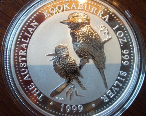 2 oz Silber Kookaburra 1999 in eckiger Originalkapsel - ggf. Ränder oxidiert ( diff.besteuert nach §25a UStG )