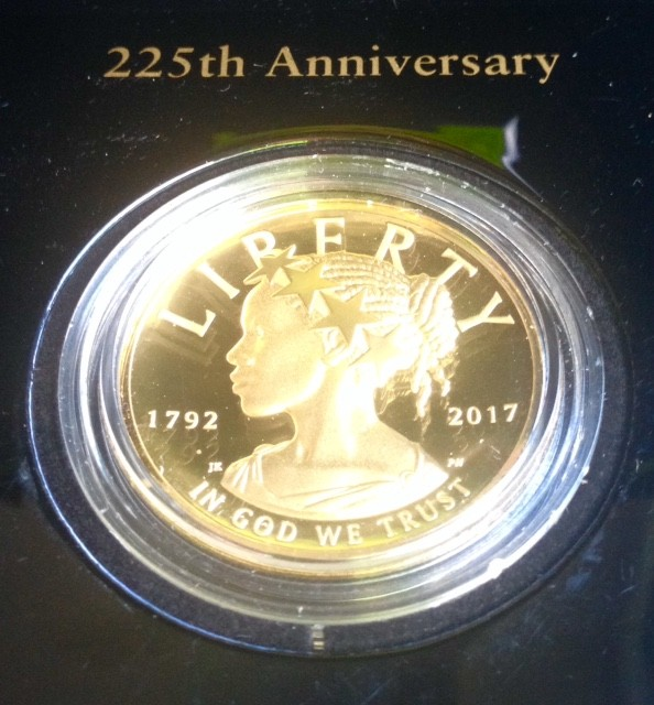 "1 oz Gold High Relief American Lady Liberty 2017 "" 225th Anniversary "" inkl. Box / COA / COINBOOK"