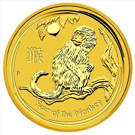 1/10 oz Gold Lunar II Affe 2016 in Kapsel