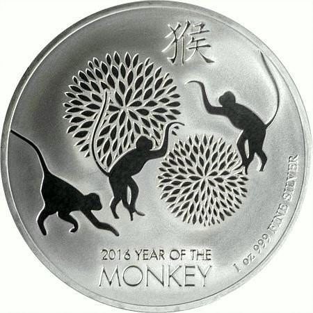 """1 oz Silber Lunar Monkey / Affe """" Three playful Monkeys """"  New Zealand Mint ( diff.besteuert nach §25a UStG )"""