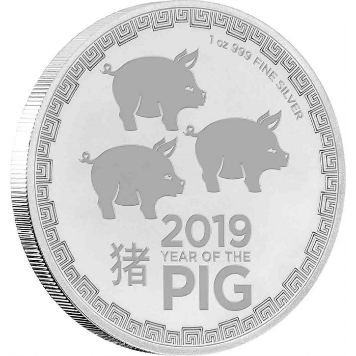 "1 oz Silber New Zealand Mint "" Lunar Schwein /  three Pigs  "" 2019 ( diff.besteuert nach §25a UStG )"