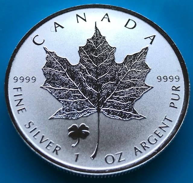"""1 oz Silber Maple Leaf Reverse Proof """" Privy Mark Kleeblatt / Shamrock  """" / Auflage max. 50.000 ( diff.besteuert nach §25a UStG )"""
