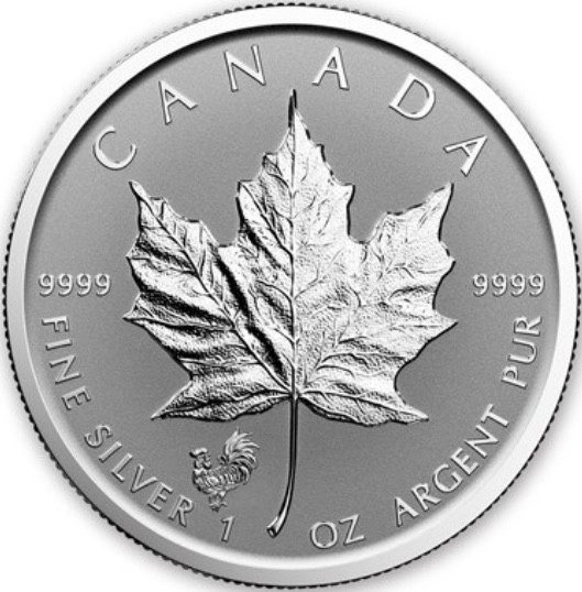"1 oz Silber Maple Leaf Reverse Proof "" Privy Mark Rooster  "" / Auflage max. 100.000 ( diff.besteuert nach §25a UStG )"