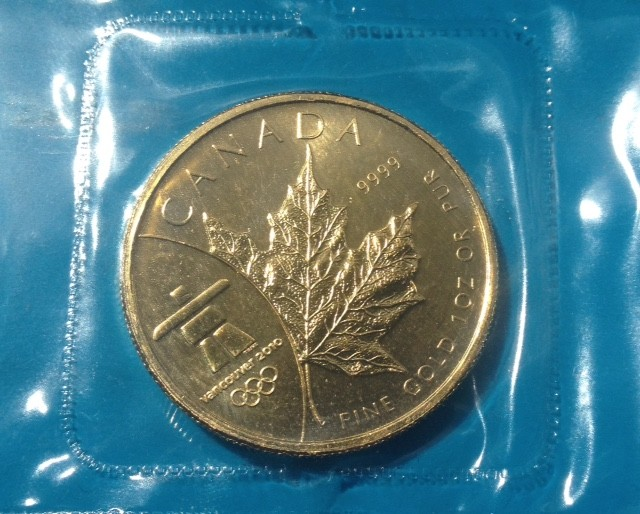 "1 oz Gold Maple Leaf "" Vancouver - Olympia  "" in Folie"