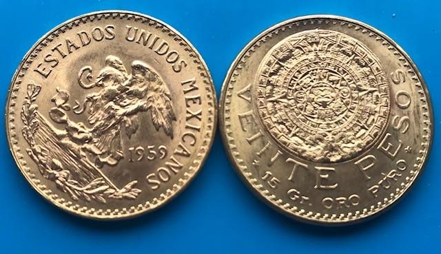 20 Mexiko Pesos Gold div. Jahre ( 15 g Gold fein)