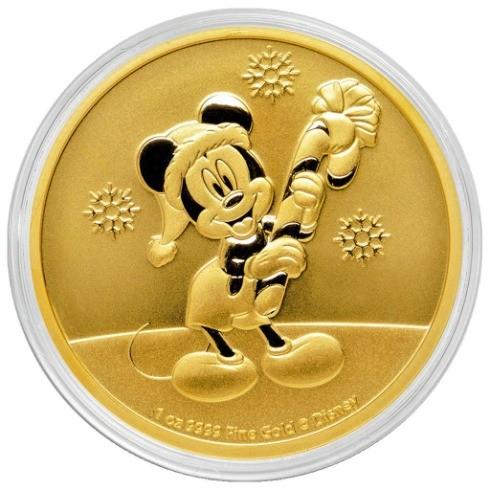 1 oz Gold New Zealand Mint Disney Mickey Christmas 2020 - max 100 Auflage
