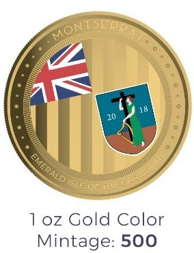 "1 oz Gold Proof-Color Montserrat "" Emerald Isle of the Carribean "" Scottsdale Mint / in Box ( Auflage 500 )"