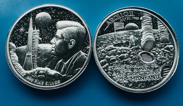 2 oz Silber USA Moonlanding / Apollo 11 Ultra High Relief ( 19% Mwst )