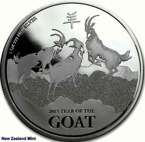 """1 oz Silber Lunar Goat / Ziege """"The Lucky Three""""  New Zealand Mint ( diff.besteuert nach §25a UStG )"""