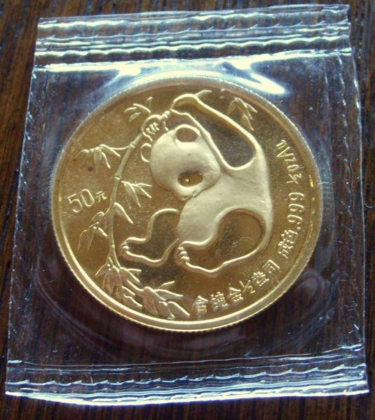 1 oz Gold Panda 1985 in Folie ( event. sehr wenige ,kleine rote Punkte - Folie verschlossen )
