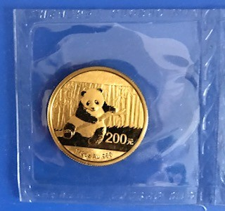1 oz Gold China Panda 2014 in Folie