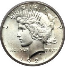 Peace Silber Dollar ( average circulated ) ( diff.besteuert nach §25a UStG )